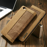 Luxury Brown Jeans Leather Flip Wallet iPhone Cover Bag